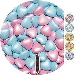 EinsSein Schokoherzen Pearl Mix 1kg rosa-hellblau Schokodragees Herzen Candybar Hochzeitsmandeln griechische