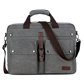 bd0d0e8e10 BAOSHA BC-07 Sacoche Ordinateur Portable 17 pouces Homme Vintage Sac  Bandoulière en Toile pour
