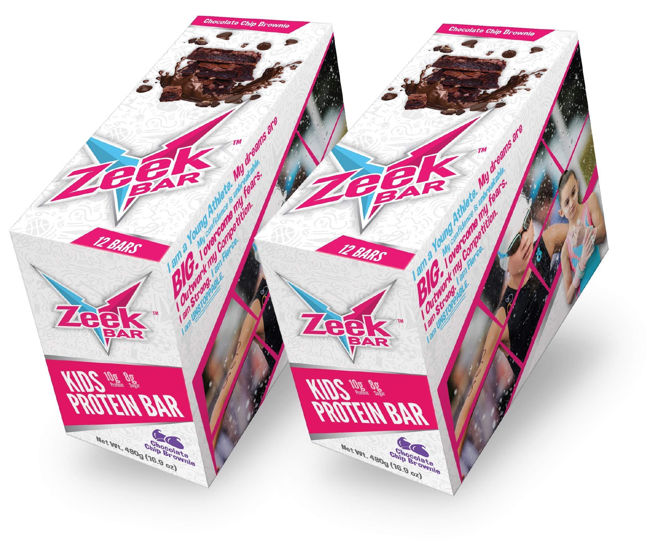 Zeek Kids Bar: Protein-Packed Kids Snack Bar | Real Ingredients, Delicious Flavors | Gluten Free, Low Sugar | Chocolate Chip Brownie, 24 Bars by Zeek Bar