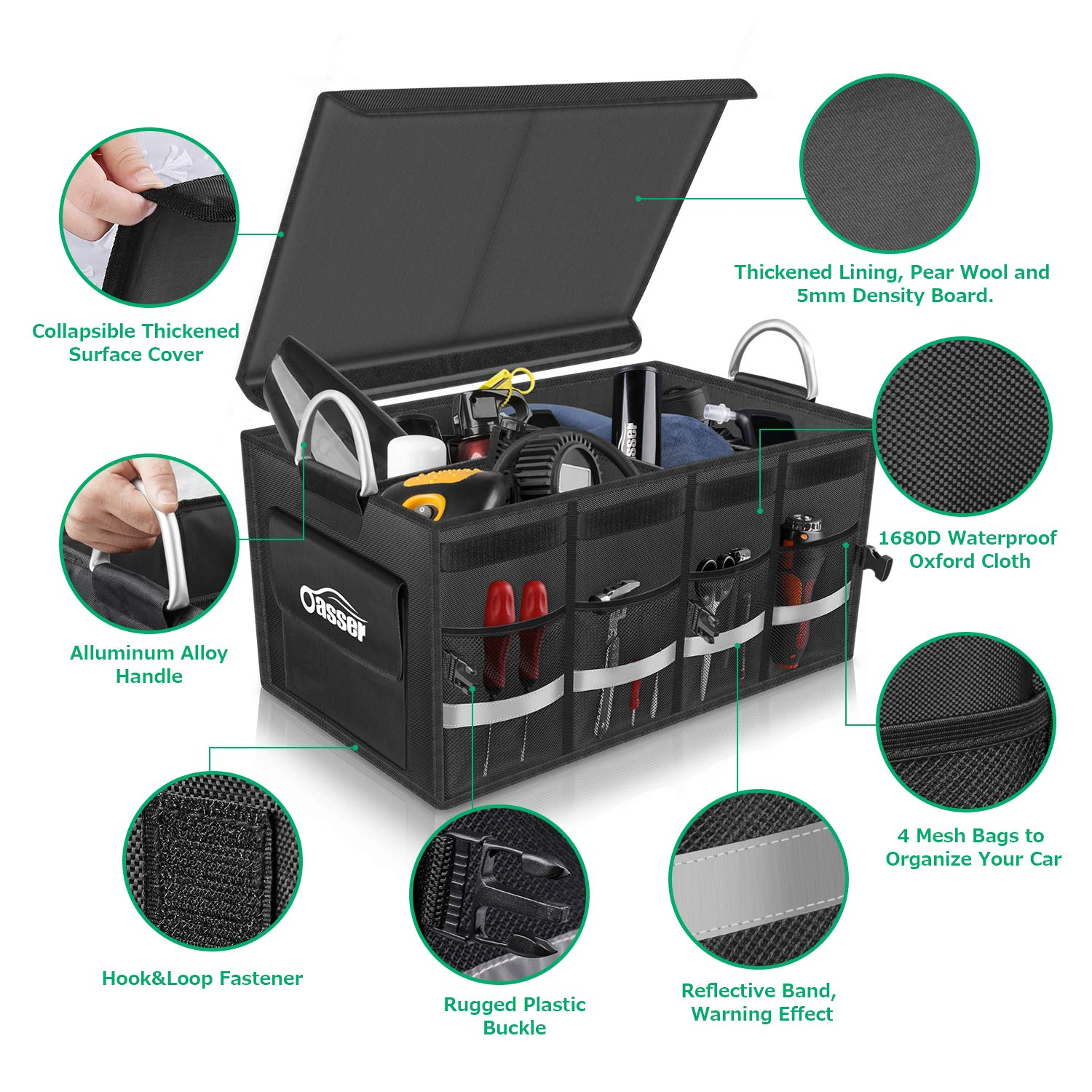 Oasser Car Boot Organiser Trunk Organiser Collapsible Waterproof Durable Multi Compartments with Sturdy Base Hook/&Loop Fastener 1680D for Car Truck SUV /& Indoor E3