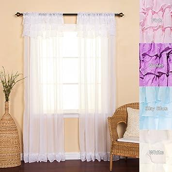 Captivating Best Home Fashion Chiffon Sheer CanCan Curtains   Rod Pocket   White    52u0026quot;W