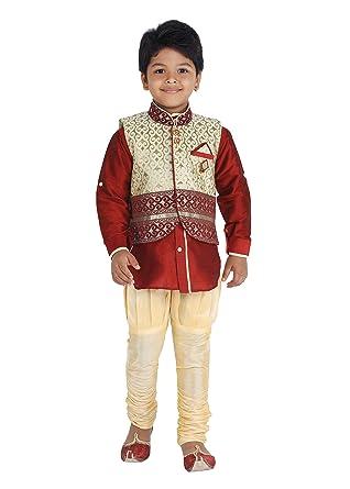 652054600 KLAUD ZEE Kids Ethnic Baby Boys' Indo Western Silk Festive and Party Wear  Sherwani,