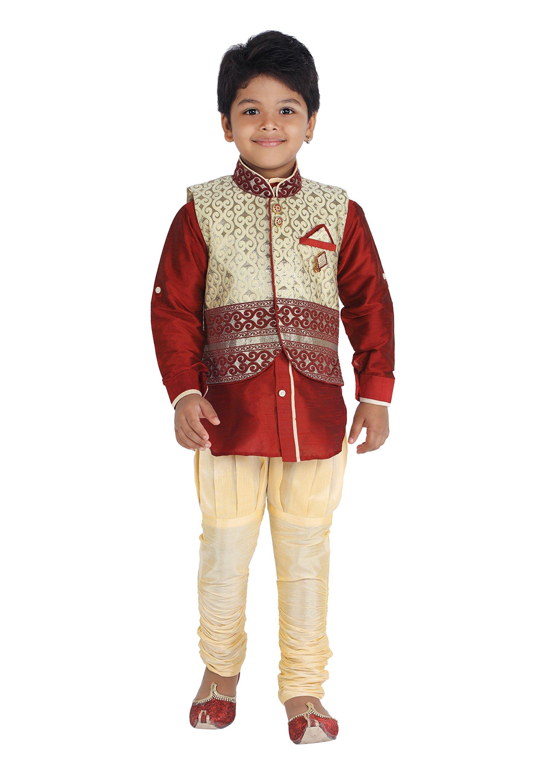 KLAUD ZEE Kids Ethnic Baby Boys' Indo Western Festive and Party Wear Kurta, Payjama And Waistcoat Set