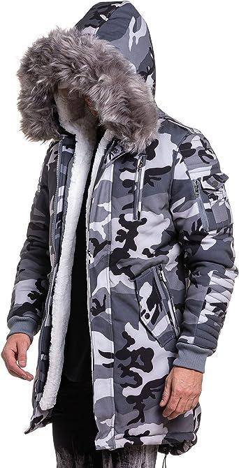 PROJECT X Parka Camouflage Gris à Capuche Fourrure Homme