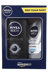 Nivea Men Dark Spot Reduction Facewash, 100ml with Active Clean Shower Gel, 250ml