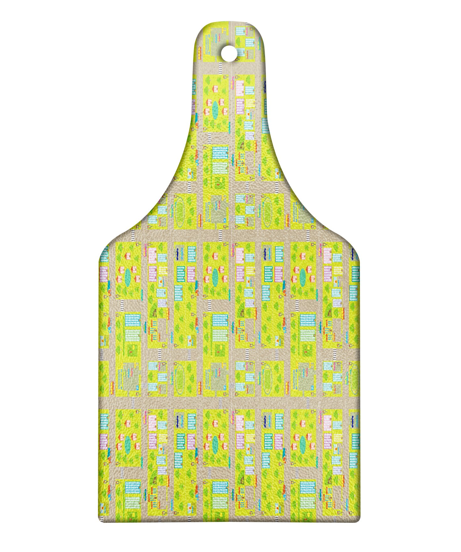 Lunarable Children's City Map Cutting Board, Blocks of Apartments Connected with Roads Mall Parking Lot and School, Decorative Tempered Glass Cutting and Serving Board, Wine Bottle Shape, Multicolor