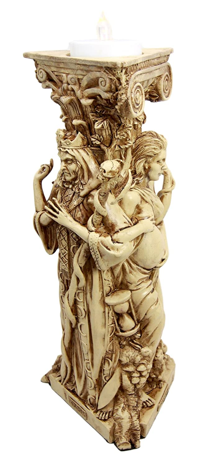 """Ebros Celtic Sacred Moon Triple Goddess Maiden Expectant Mother and Crone Pillar Candle Holder Wicca Wiccan Pagan Worship Decorative Candleholder Figurine 10"""" H Occult Statue Home Decor Accessory"""