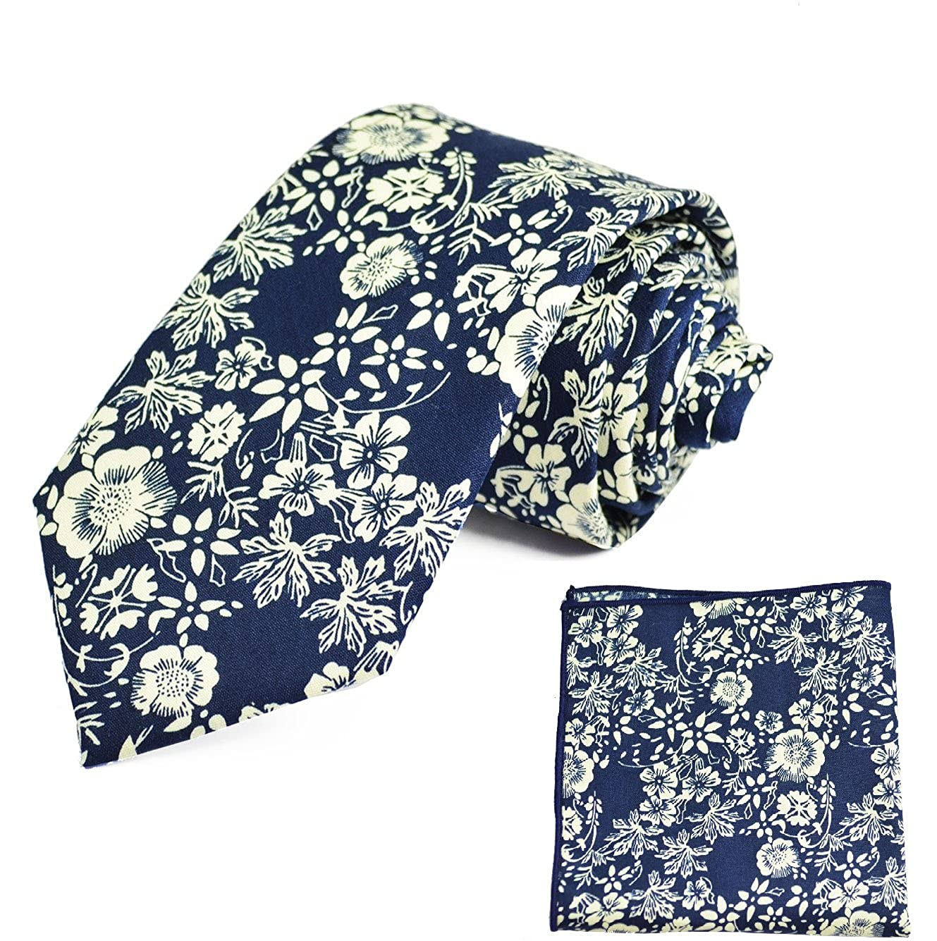 Blue Floral 100/% Cotton Tie and Pocket Square Set by Paul Malone