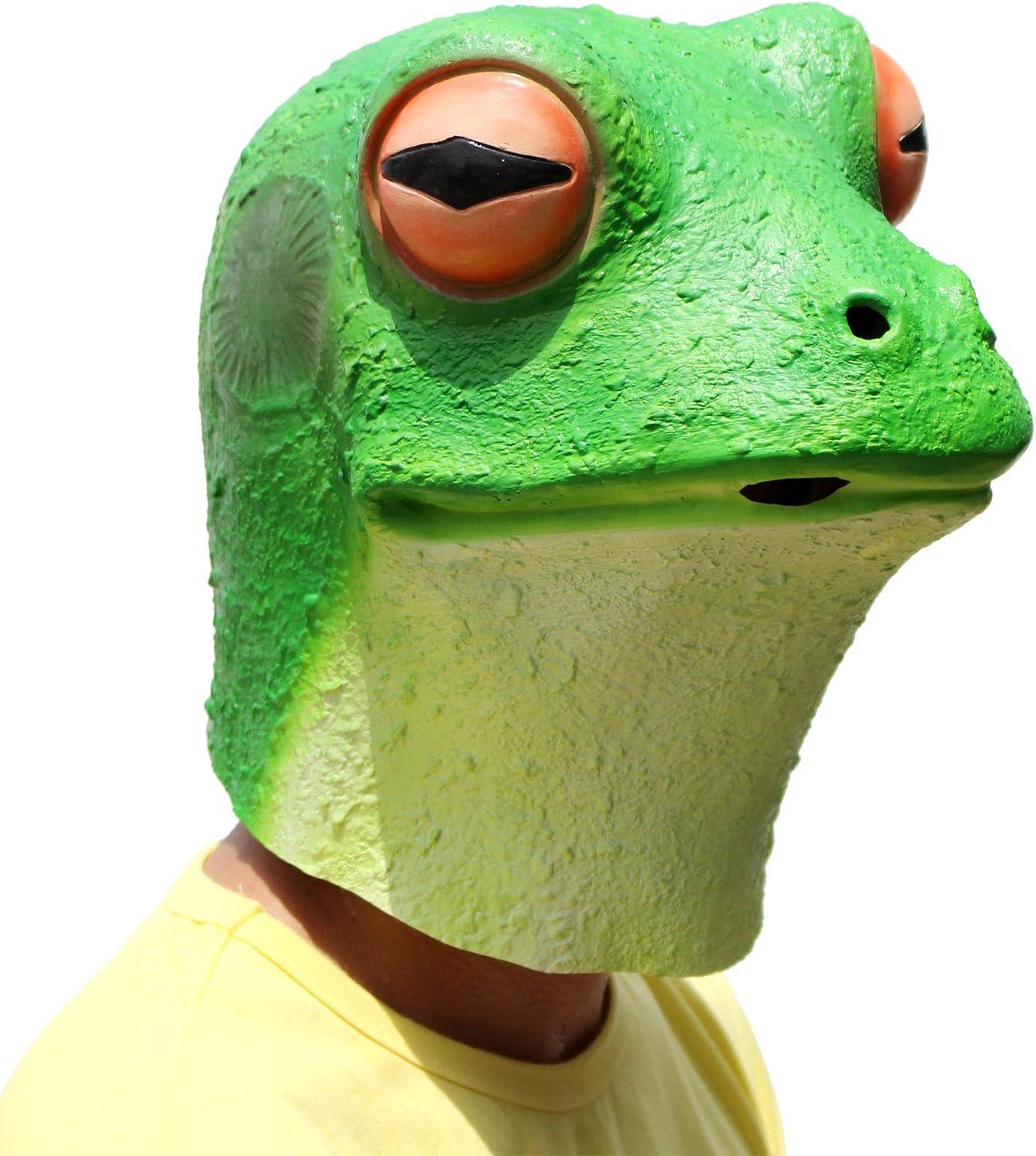 PartyCostume Máscara de Cabeza Animal de Látex de Fiesta de TrajeLujo de Halloween de La Rana Máscaras (Silencio)