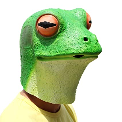 PartyCostume - Frog Mask - Halloween Costume Latex Animal Full Head Latex Adult Kids Mask