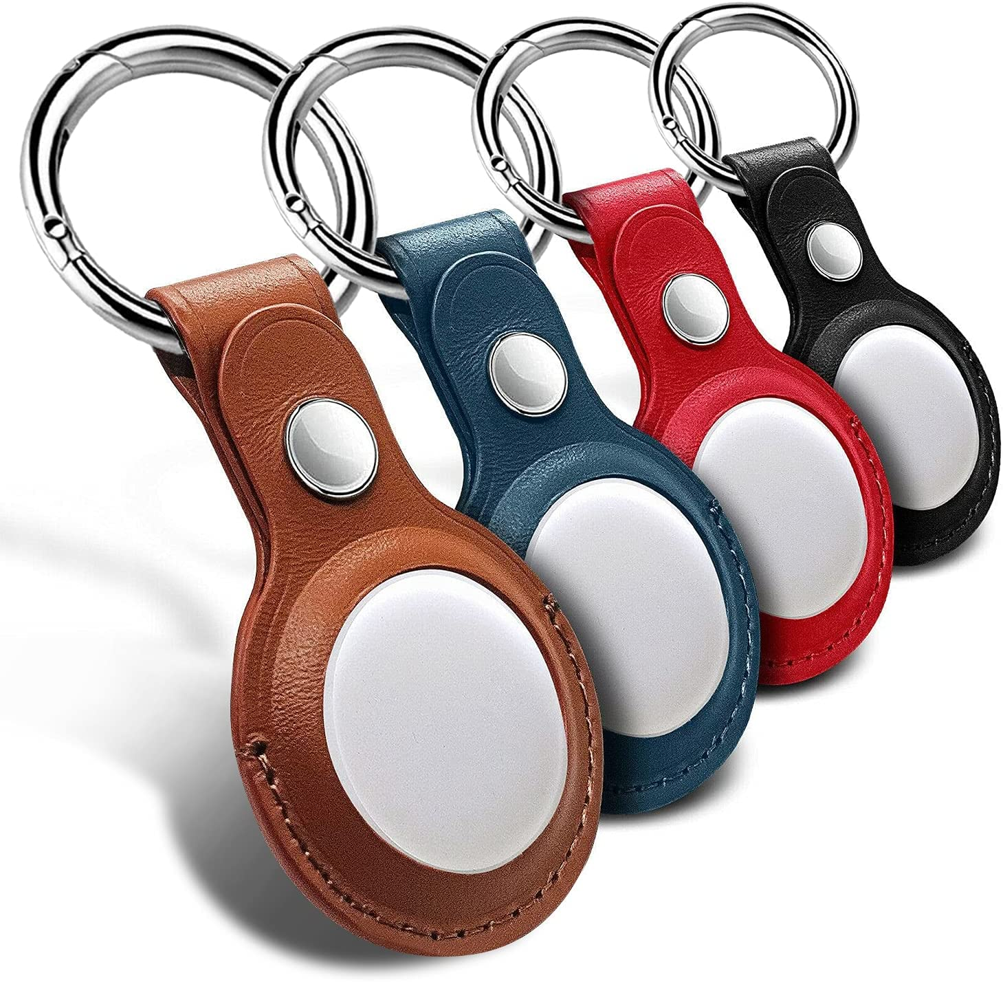 Leather Case for Apple AirTag Tracker, 4 Pack AirTags Case with Anti-Lost Keychain,Protective AirTag Keychain Holder Cases Cover, Finder Items for Dogs Keys Backpacks, 4Pack Multi-Color