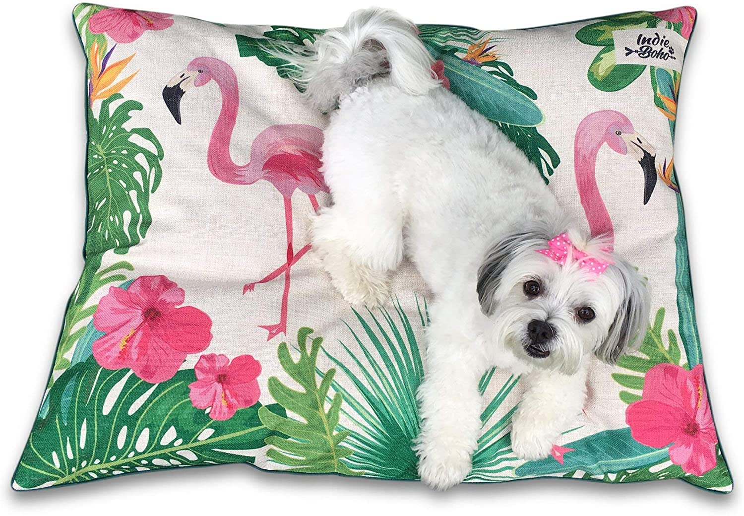 Indie Boho Pets Luxury Designer Dog Bed with Removable and Washable Cover in Flamingo Paradise Design – Perfect for Female Dogs
