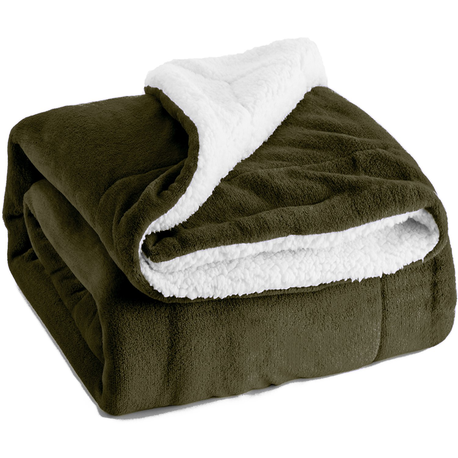 Sherpa Throw Blanket Olive Green Twin Size Reversible Fuzzy Bed Blankets Microfiber All Seasons Luxury Fluffy Blanket for Bed or Couch 60\