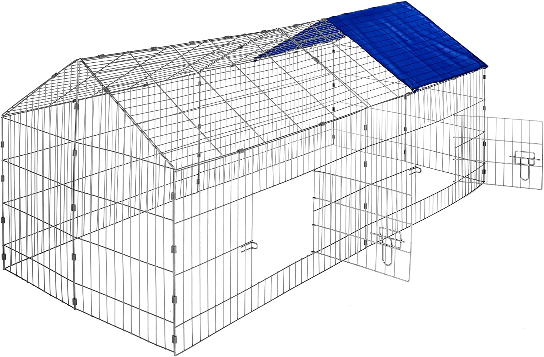 TecTake Jaula recinto para Conejo Ejecutar con Parasol Exterior Animales 180 x 75 x 75 cm (Techo Azul   no. 402419)