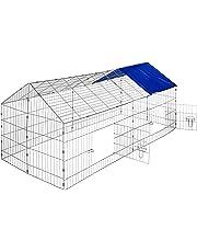 TecTake Cage enclos à lapin extérieur avec protection pare-soleil toit | LxlxH: 180 x 75 x 75 cm - diverses couleurs au choix-