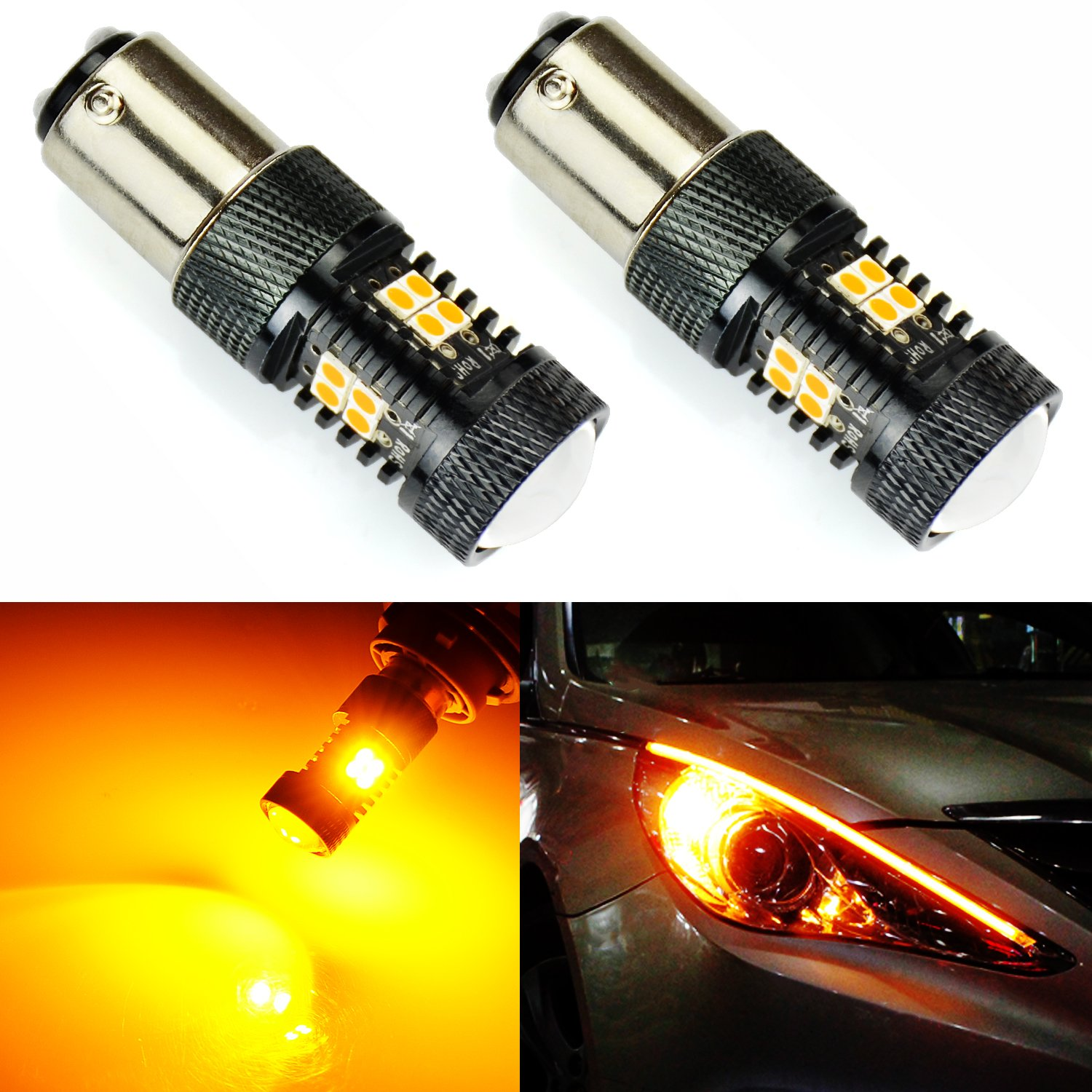 JDM ASTAR Extremely Bright 3030 Chipsets 1157 2057 2357 7528 LED Bulbs with Projector, Amber Yellow
