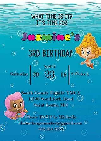 Amazoncom Customized Bubble Guppies Birthday Invitation Toys Games