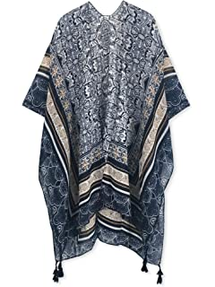 7185c27eb531e Spicy Sandia Swimsuit Cover ups for Women with Tassel Open-Front Kimono  Cardigan with Vintage