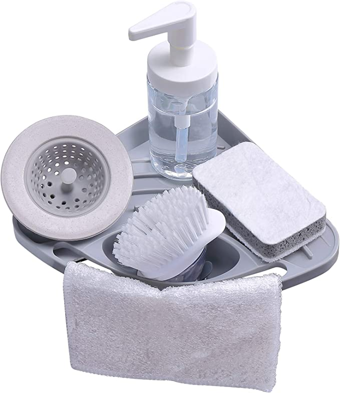 Kitchen sink caddy sponge holder scratcher holder cleaning brush holder sink organizer(Grey) best kitchen sink organizer