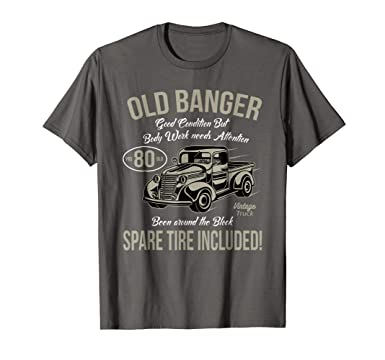 Mens 80th Birthday T Shirt Vintage Old Banger 80 Years Gift 2XL Asphalt