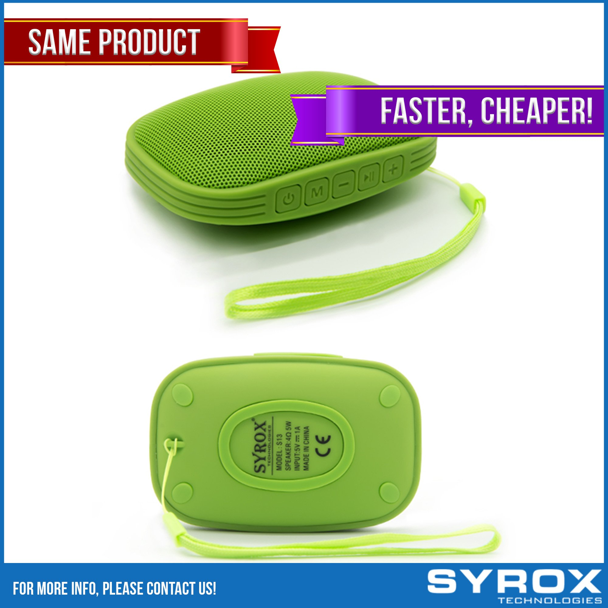 Bluetooth Speaker Waterproof - Green Portable Chargable SD Card AUX FM Radio Microphone Apple Iphone 4/5/6/7/8/X Samsung Galaxy Sony Xperia Xiaomi Asus LG G4 G5 G6 Nokia HTC BlackBerry Motorola Huawei