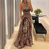 Women Bohemian Style Print Halter Backless Maxi Dress Sexy Sleeveless Beach Dress & Fashion Halter Backless Slit Leg Floral P