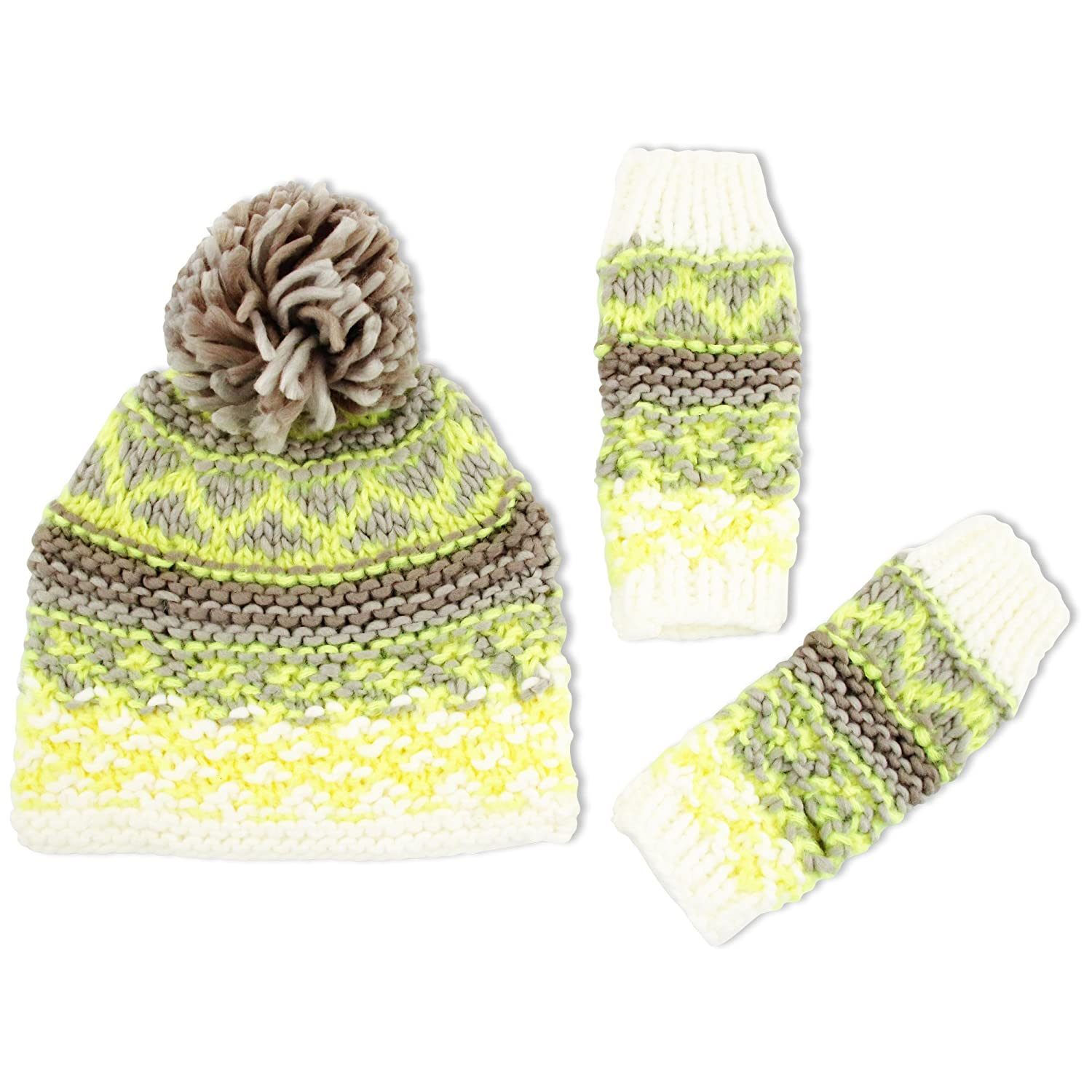 ABG Accessories Girls Chunky Knit Acrylic Beanie Hat with Yarn Pom and Matching Hand Warmers
