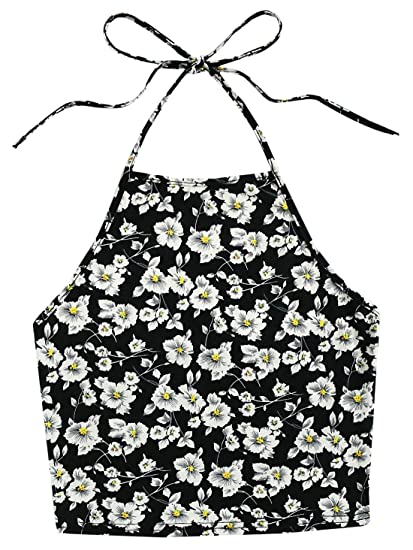 75a93bac95 Romwe Women s Casual Floral Print Sleeveless Vest Halter Cami Tank Top  Black XS