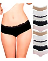 Emprella Womens Lace Underwear Hipster Panties Cotton/Spandex - 10 Pack Colors and Patterns May Vary …