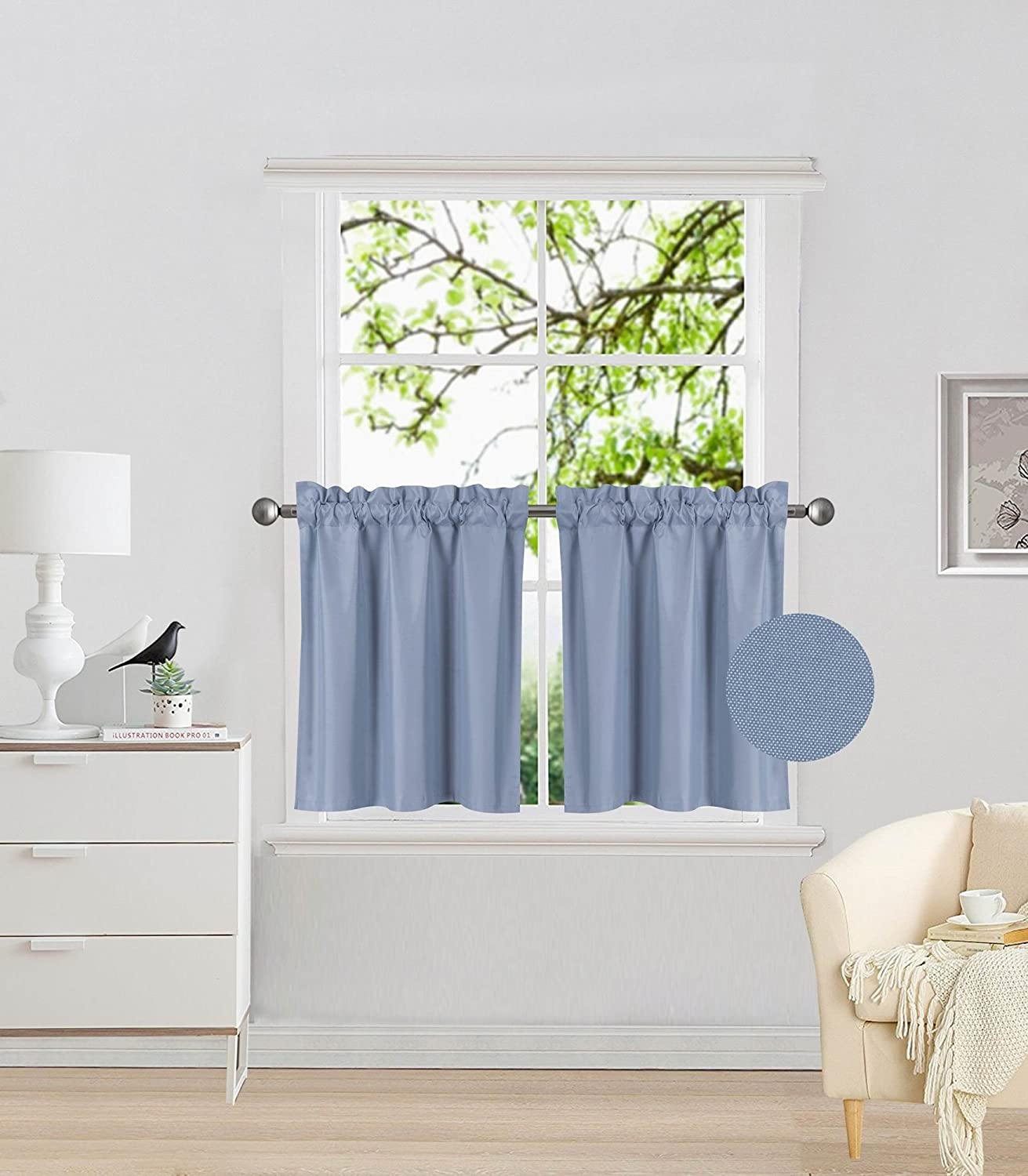 Elegant Home 2 Panels Tiers Small Window Treatment Curtain Insulated Blackout Drape Short Panel 28