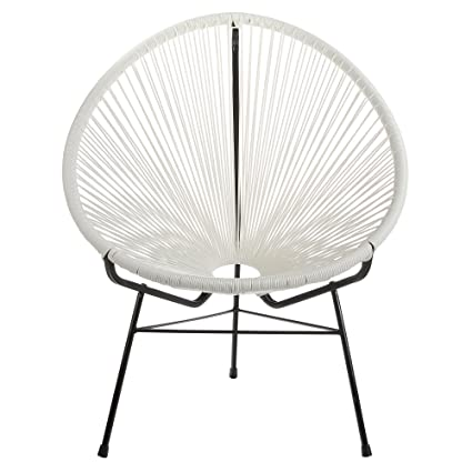 Marvelous Amazon Com Acapulco Outdoor Lounge Chair White Cord Camellatalisay Diy Chair Ideas Camellatalisaycom