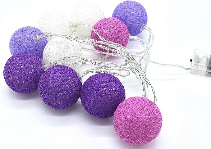 joka International GmbH - Guirnalda de bolas de algodón (10 unidades), color morado: Amazon.es: Iluminación
