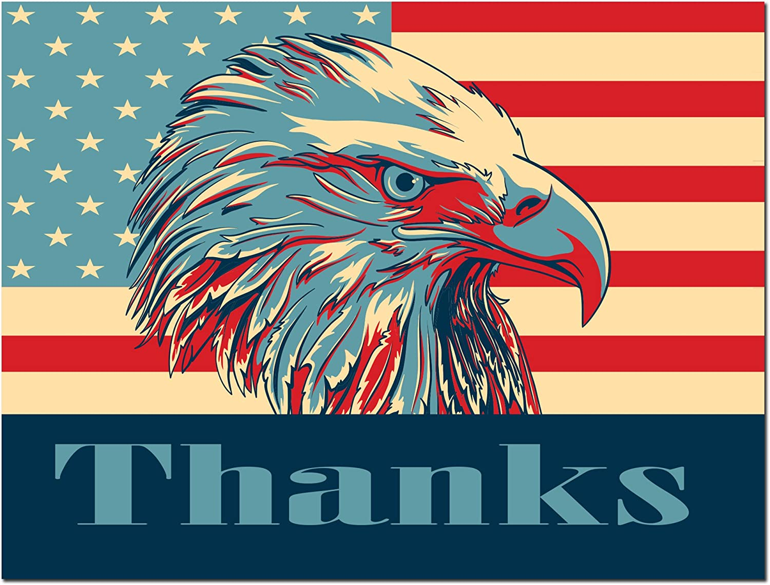 Includes Cards and Envelopes 5.5 x 4.25 Thank You Cards 24 Pack Patriotic USA Blank on the Inside Bald Eagle American Flag