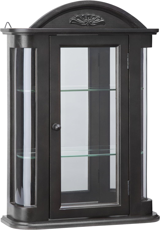 Design Toscano BN15222 Rosedale Wall Curio Cabinet, Ebony Black