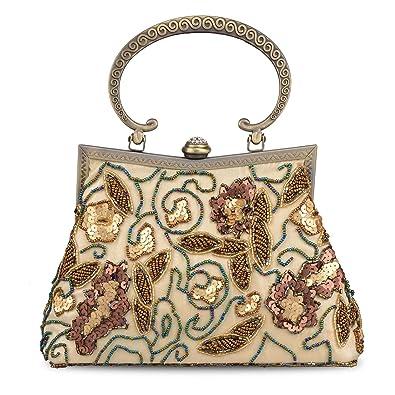 87d57556d7 Women's Vintage Bag Sequins Beaded Bag Evening Handbag Wedding Clutch  handle Bag Formal Hand Bag