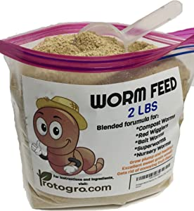 NightCrawlers, Superworms, Hornworms, Red Wigglers, Bait, and Compost Worm Food with Scoop by Protogro, 2 Lbs (2 Lbs)