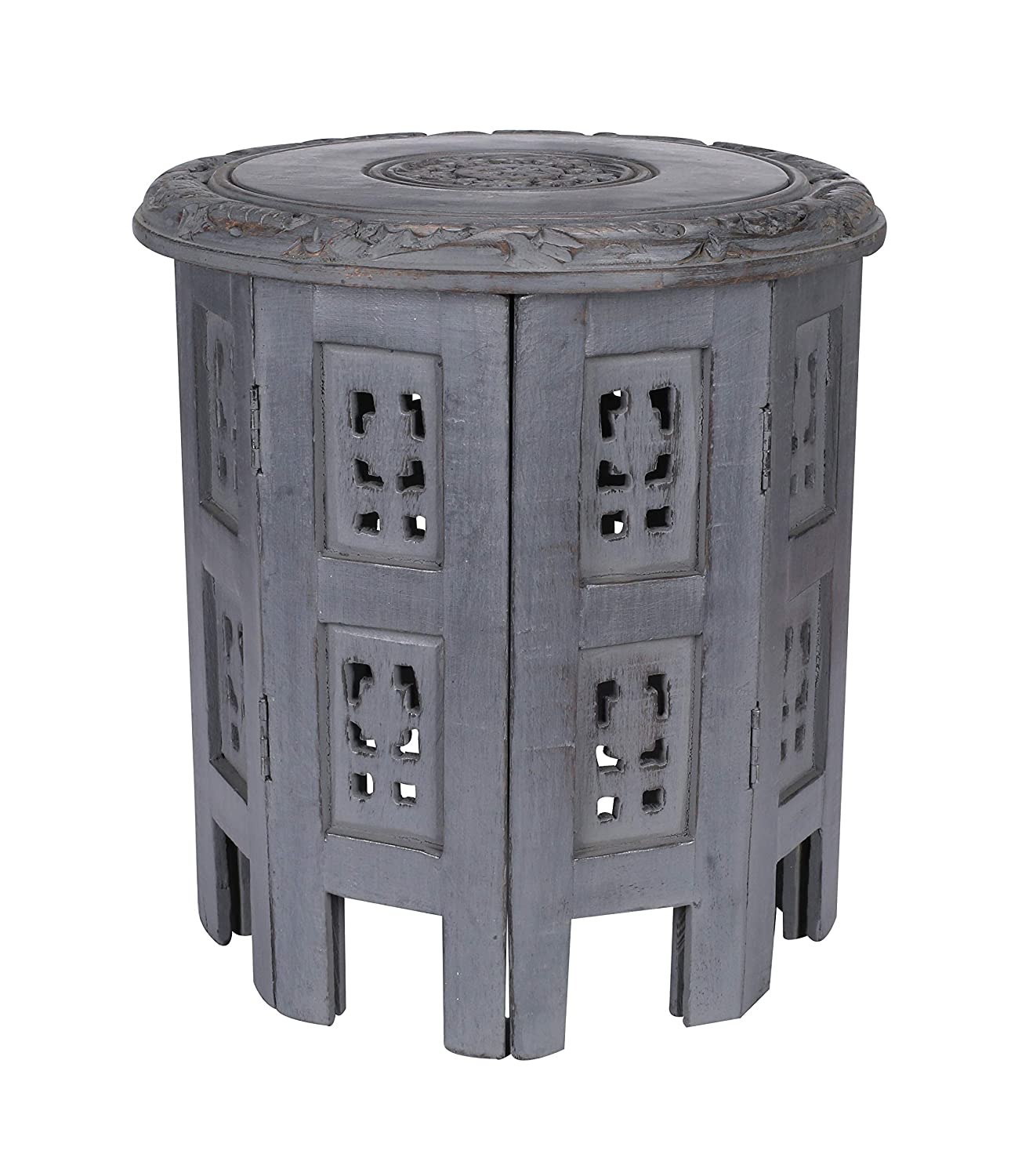 Solid Wood Hand Carved Accent Table, Decorative Small Wooden Coffee Side Table, Entryway Table, Wooden End Table, Bedside Table, Octagonal Wooden Table - 12 Inch Round Top x 12 Inch High -Dark Grey