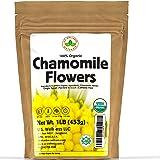 Chamomile Tea 1LB (16Oz) 100% CERTIFIED Organic (USDA seal) Chamomile Flowers Herbal Tea (Matricaria Chamomilla) in 1 lb Bulk
