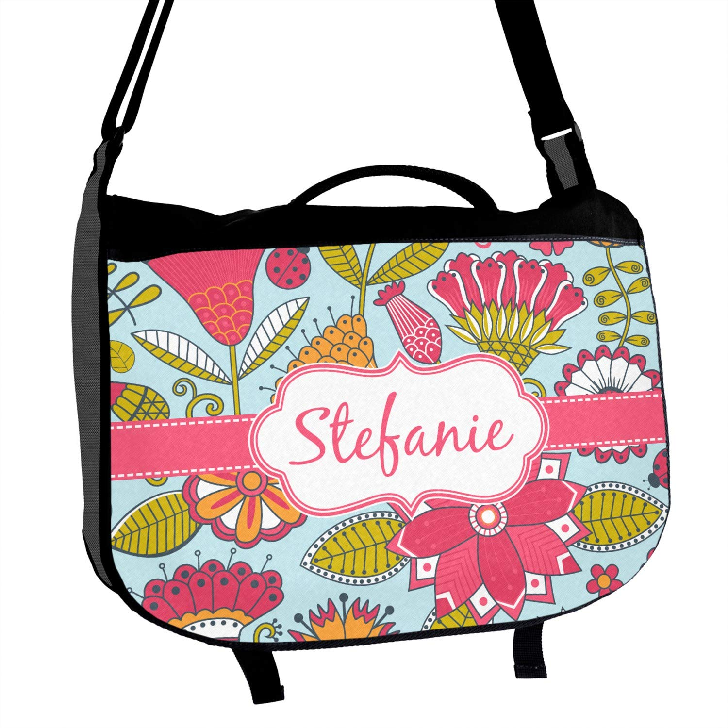 Wild Flowers Messenger Bag Personalized