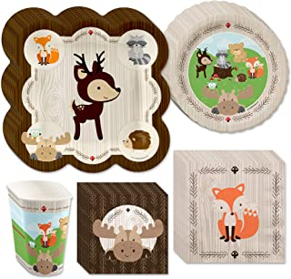 product image for Big Dot of Happiness Woodland Creatures - Baby Shower or Birthday Party Tableware Plates, Cups, Napkins - Bundle for 32