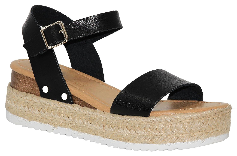 cd08986abbc MVE Shoes Women's Adjustable Ankle Strap -Summer Comfort Open Toe  Espadrille - Cute Single Strap Platform
