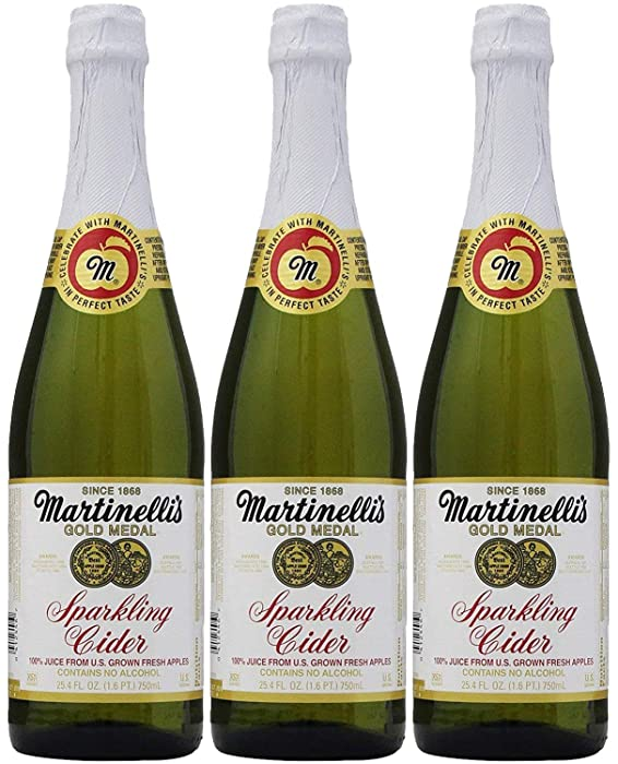 Martinelli's Sparkling Apple Cider Juice, 25.4oz Glass Bottle (Pack of 3, Total of 76.2 Fl Oz)