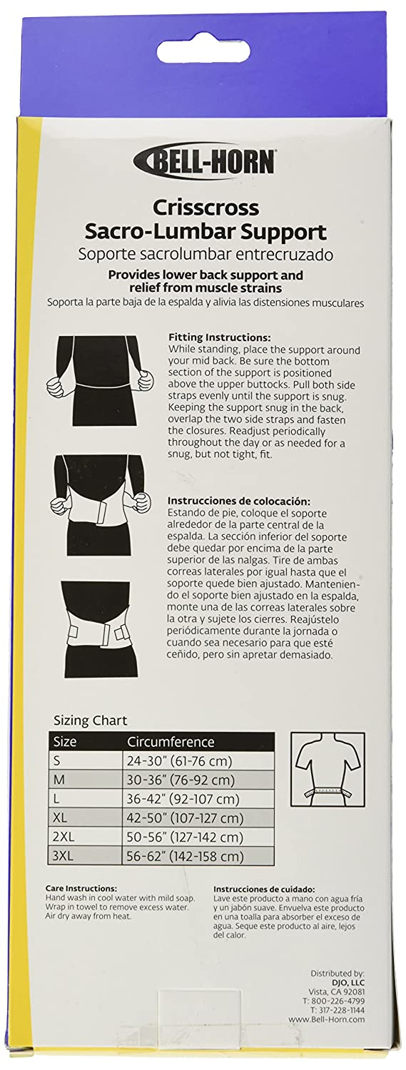 Amazon.com: Bell-Horn CrissCross Lumbosacral Lower Back Support Brace, Large (Waist: 36
