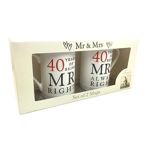 ukgiftstoreonline 40th Ruby Wedding Pair Of Mugs