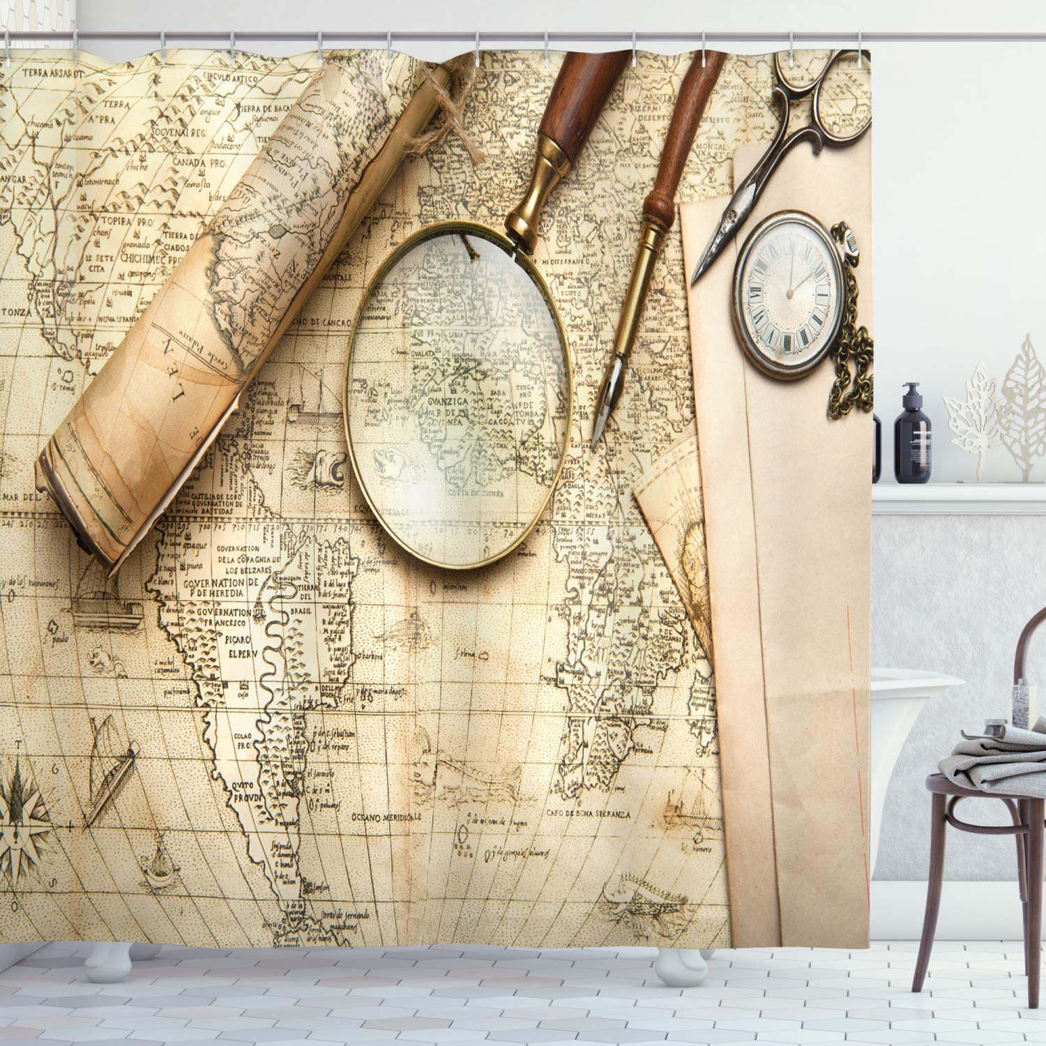 """Ambesonne Wanderlust Decor Collection, Vintage World Map with Old Retro Objects and Magnifier Discovery Theme in Anthique Print, Polyester Fabric Bathroom Shower Curtain, 84"""" Long Extra, Cream"""