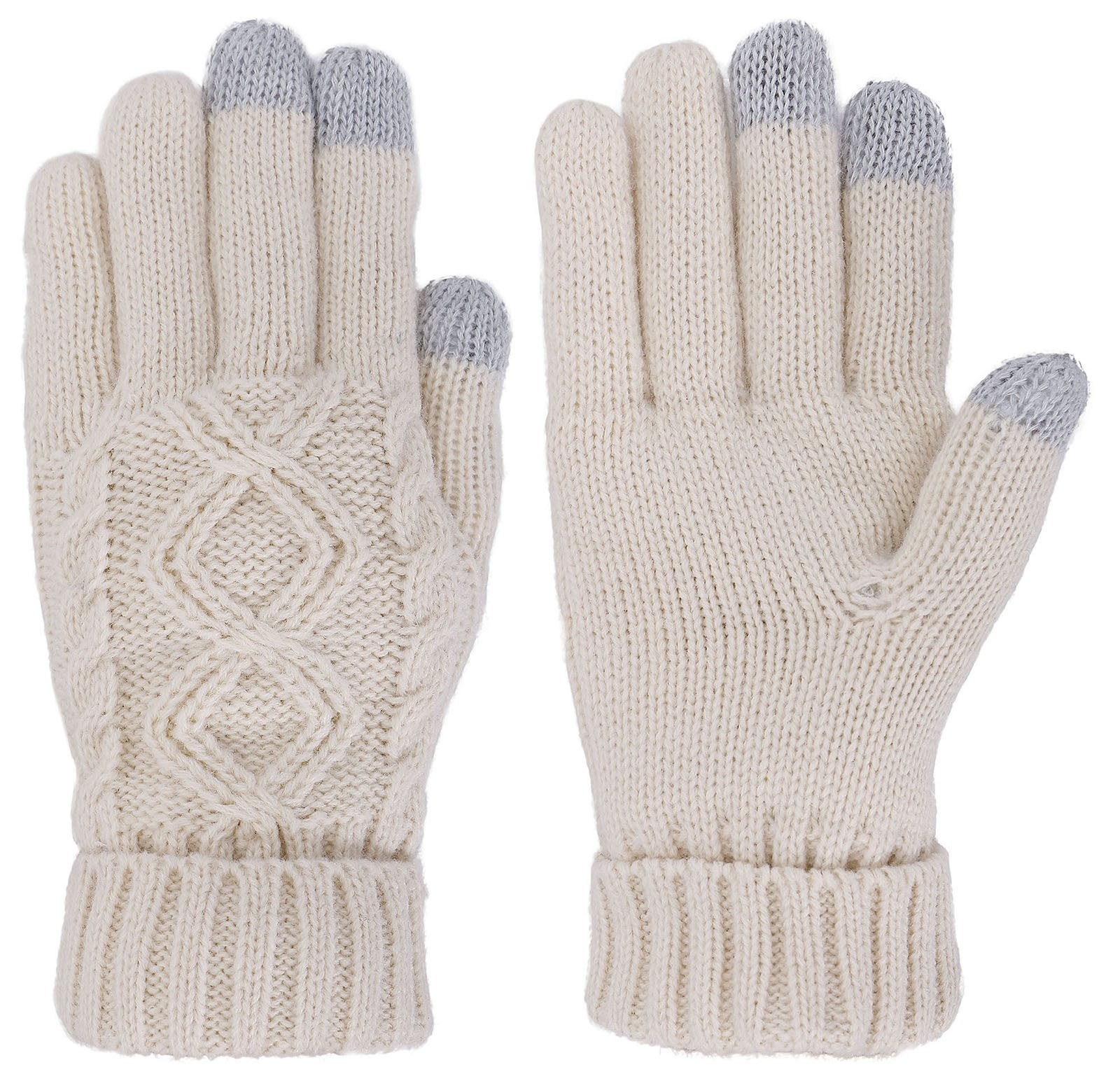 Women's Cable Knit 3 Finger Touchscreen Sensitive Winter Mitten Gloves,Vanilla