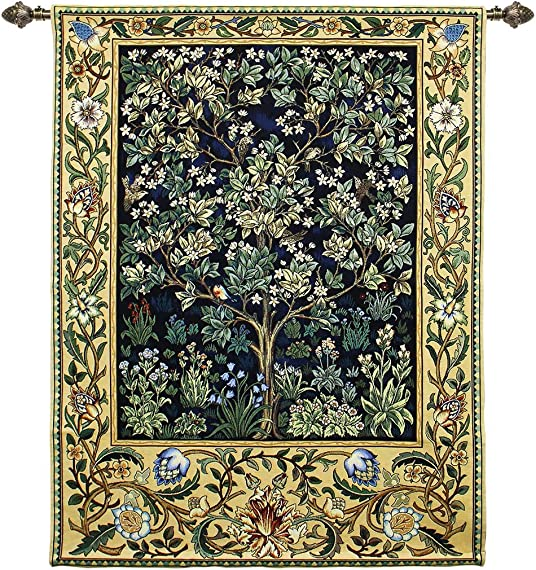 Signare William Morris Tree of Life Red, Wall Hanging, Wall Art, Throw Rug, 41 x 55 inch, Floral Animal Fabrics WH-TLBL-1