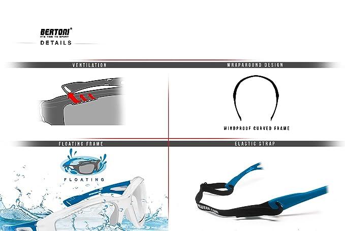 Bertoni Occhiali Fotocromatici Sportivi Antivento Avvolgenti Prodotti in TPX Antiurto per Ciclismo MTB Running Moto Sport Acquatici Kitesurf F1000