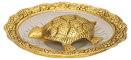 Metal Tortoise on Glass Plate for Good Luck Feng Shui (14 cm x 14 cm x 3 cm, Gold)