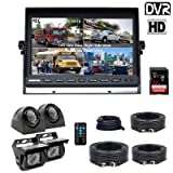 Douxury Backup Camera System, 4 Splite Screen 9'' Quad View Display HD Monitor with DVR Recording Function, Waterproof Night Vision Cameras x 4 for Truck Trailer Heavy Box Truck RV Camper Bus (Color: black, Tamaño: 9Inch Kit)